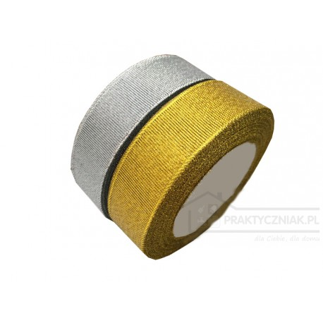 Wstążka srebrna, złota 12 mm